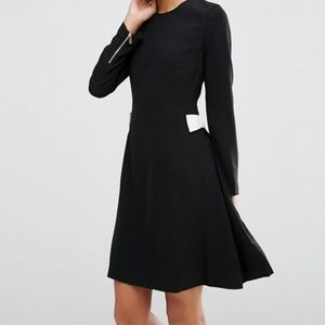 Ted Baker Emorly long sleeve black dress with bows